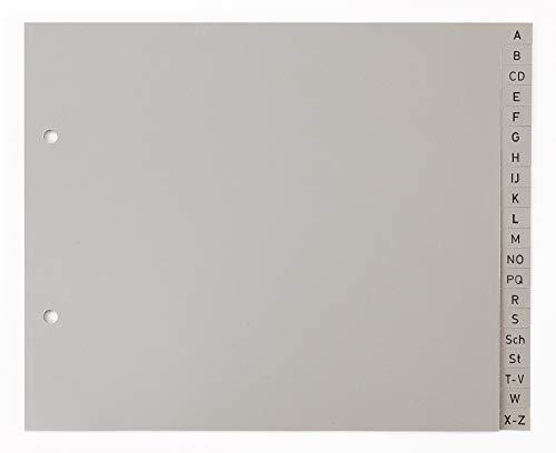 5er Set 20-teiliges Register/Trennblätter aus PP Kunststoff für DIN A4 halbe Höhe mit Buchstaben A-Z, grau Trenn-Blätter für die Ordner-Organisation im Büro.