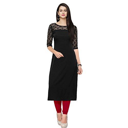 Shiv Retail Black Crepe&Net Kurti For Women's (Large)