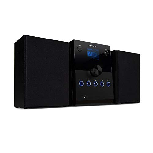 auna MC-30 Dab - Impianto Stereo Micro, Inpianto Stereo Bluetooth, 2 Casse, Max. 20 Watt, Dab+, UKW,...