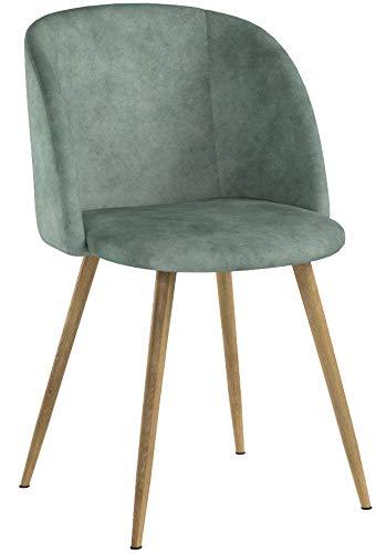 DORAFAIR 2 Sedie da Pranzo in Morbido Velluto, Seduta e Schienale Imbottiti con Gambe in Metallo Stile Legno Poltrona Velluto Vintage, Verde