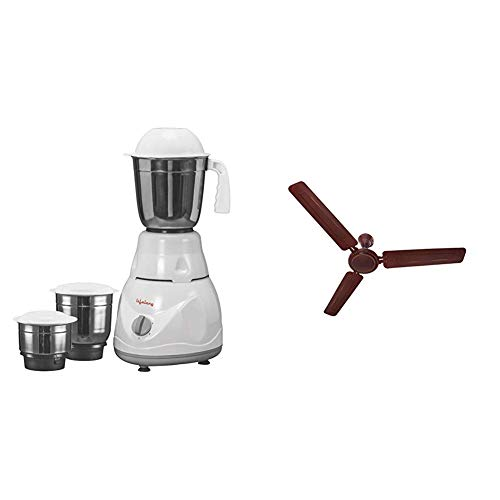 Lifelong Power Pro 500-Watt Mixer Grinder with 3 Jars (White/Grey) + LLCF07 High Speed Ceiling Fan 1200 mm (Brown)