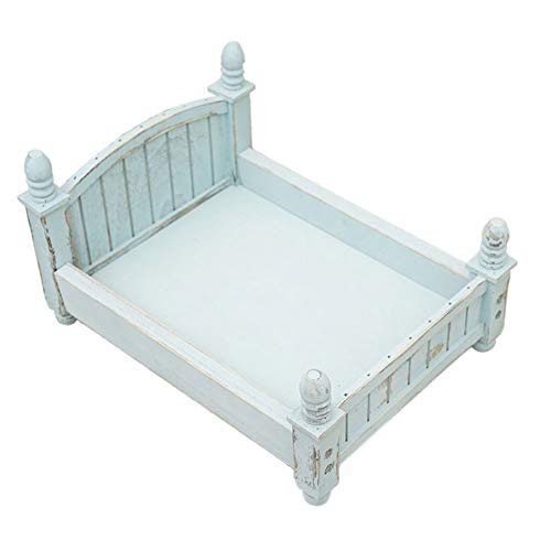Prop Bed Wooden Posing Studio Accessories Mini Infant Newborn Baby Vintage Photo Gift Background Photography Crib(Sky Blue)