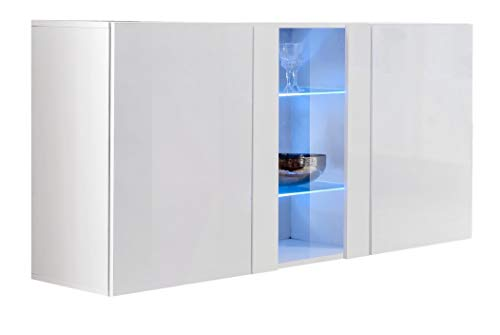 Credenza sospesa Moderna Design Salve Bianco - Larghezza: 120cm x Altezza: 70cm x profondità: 40...