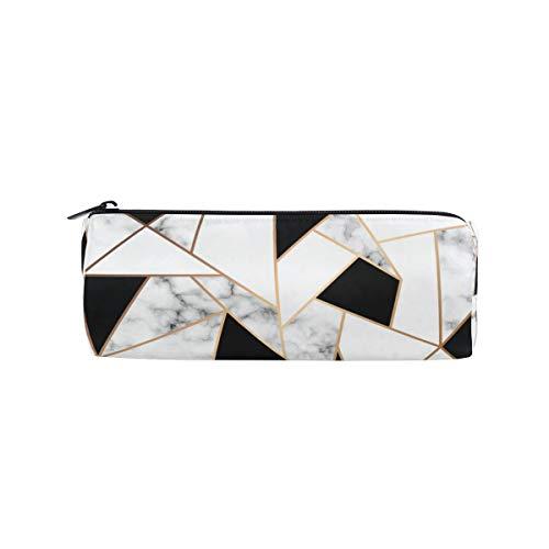 BIGJOKE Astuccio bianco e nero con motivo geometrico marmo per matite, penne, penne e pennelli da...
