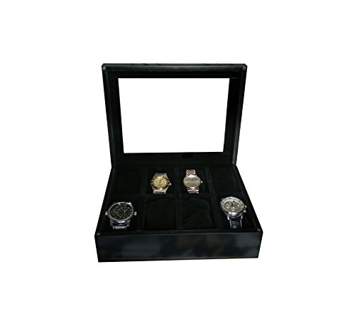 SLK Wood Products Wooden Watch Box (Charcoal Black, 8 Watches)