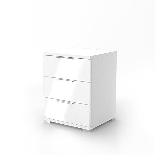 Nachtschrank Kommode Nachttisch Schrank Schublade Ablage Schlafzimmer Florenz Weiß Hochglanz
