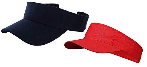 EASY4BUY® Cotton Sunhat Beach Baseball Visors Tennis Mens/Women's Cap Pack of 2 Blue & Red
