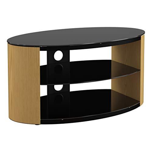 King universale TV stand effetto quercia con piano in vetro nero e ripiani 80cm adatto fino a...