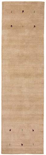 CarpetFine: Tappeto Gabbeh Uni Passatoia 75x240 cm Beige - Monocromatico