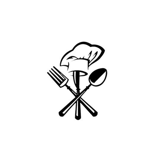Vosarea Adesivi murali Stickers Cucina Rimovibile Murale Cappello da Cuoco Coltello e forchetta per...