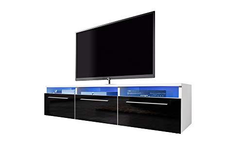 Selsey LAVELLO - Mobile TV con Armadietti/Porta TV con Illuminazione LED/Bianco con Frontali Neri...