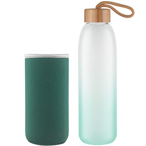 Life4u Borosilikat Trinkflasche Glas Wasserflasche Glasflasche mit Neoprenhülle BPA Frei 500 ml Grün