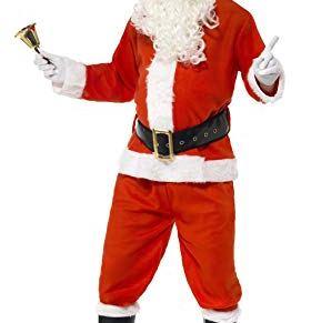 Smiffys-34585XL Disfraz de Santa, con Chaqueta, pantalón, cinturón, Gorro, Guantes y Funda, Color Rojo, XL-Tamaño 46