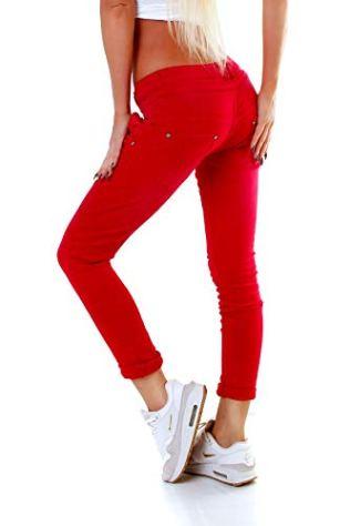 Fashion4Young-5857-MOZZAAR-Damen-Jeans-Hose-Rhrenjeans-Haremshose-Rhre-Damenjeans-Hftjeans-M-38-Rot