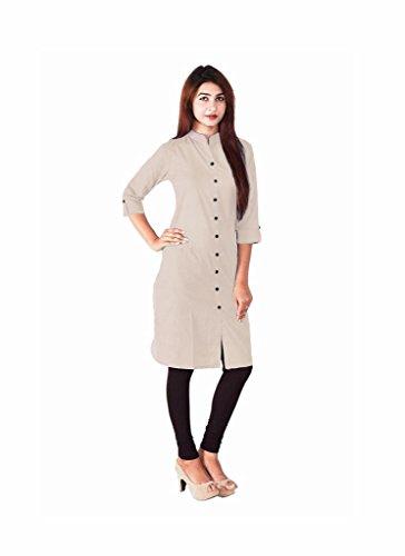 Kurti (SRK RETAIL Women's Cotton 3/4 Sleeve Long Beige White Women Kurti)