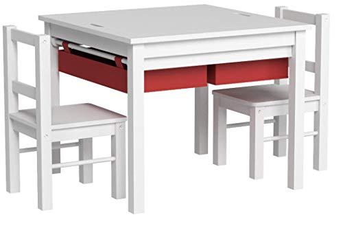 UTEX 2-in-1 Multi attività Bambini Tavolo e 2 sedie Set con Bagagli (Bianco con Il cassetto Rosso)