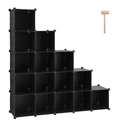 SONGMICS Scaffale a 16 Cubi, con Sistema Fai-da-Te, Organizzatore Stabile in Plastica PP,...