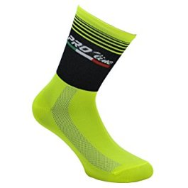 Pro-Line Calze Calzini Ciclismo PROLINE Circle Lines Giallo Fluo Cycling Socks 1 Paio One Size