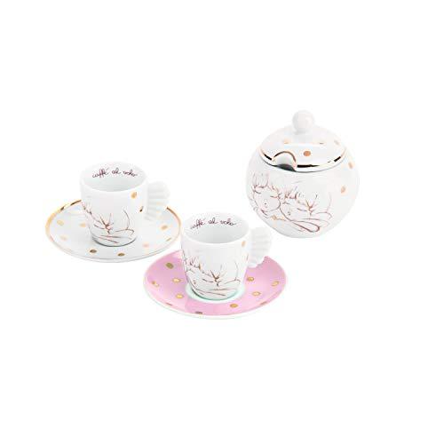THUN - Set 2 Tazzine da Caffè con Zuccheriera Bianche con Decorazione Dorata - Porcellana - Ø 6,5...