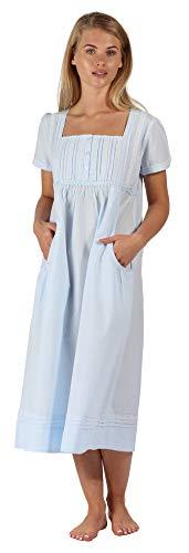 Inconnu The 1 for U - Chemise de Nuit - Manches Courtes - Femme Blanc Blanc XX-Large - Bleu - XX-Large 22