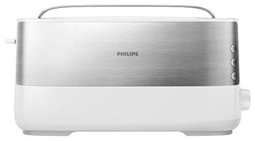 Philips Langschlitztoaster (Edelstahl) 8 Bräunungsstufen, Brötchenaufsatz, 950 Watt, weiß HD2692/00