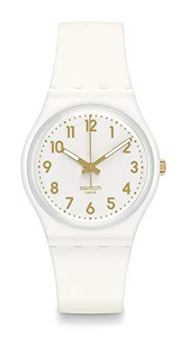 Swatch GW16434mm Plastic Case White rubber Mineral Women' s Watch