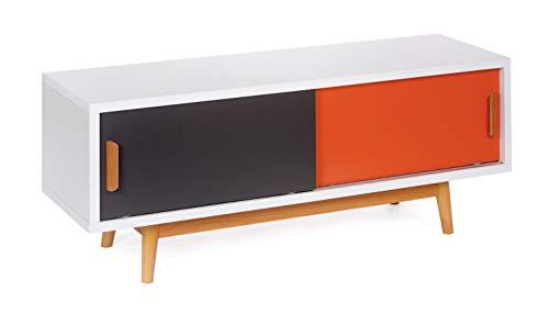 ts-ideen Mobile porta televisore 120x55 cm stile retro in Bianco Grigio e Arancione doppio sportello...