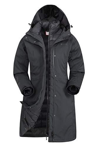 Mountain Warehouse Giacca Invernale Alaskan Womens 3 in 1 - Impermeabile 10.000 mm, Cappotto Imbottito da Donna, Giacca Interna Rimovibile - per l'escursionismo Nero Jet 38