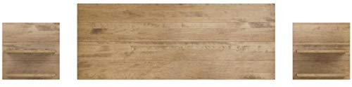 Hogar 24- Testiera con 2comodini, con finitura in legno massello naturale, dimensioni 155x...