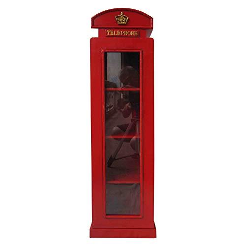 Armadio con specchio 'Cabina telefonica di Londra', in stile rétro, colore rosso