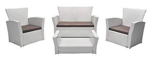 SAMIRA Salotto da Giardino in Rattan, Set di divani da Esterno in polyrattan MOD.Aurora Bianco