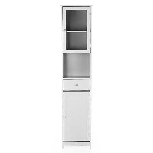 IKAYAA Modern Tower Armadietto Alto con Ante e cassetti Armadio a Pavimento in Legno Mobili per la...