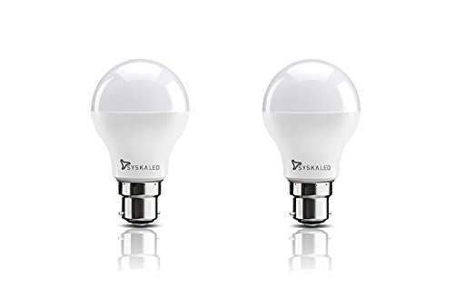 Syska Base B22 8-Watt LED Bulb (Pack of 2, Cool Day Light)