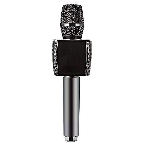 LALABIT Micrófono Dinámico Teléfono Móvil Canción del Coche del Micrófono Universal TV Micrófono Inalámbrico Bluetooth Estéreo Integrado Y Alrededor del Micrófono (Color : Negro, tamaño : 7x7x26cm)