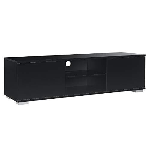[en.casa] Mobile TV Mobile Soggiorno TV lowboard 34,5cm x 120cm x 40cm Nero Lucido