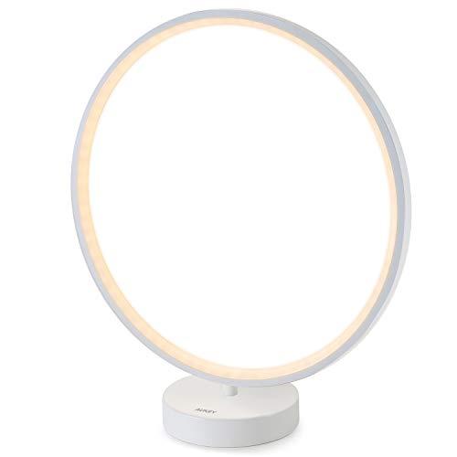 AUKEY Lampe de Chevet LED en anneau, lumière réglable avec télécommande, 6 modes d'éclairage, 4 vitesses d'éclairage et fonction mémoire d'éclairage