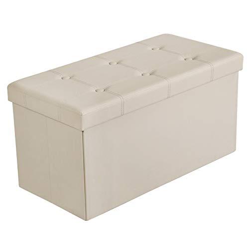 SONGMICS Pouf Cassapanca Pieghevole con Contenitore di 80 Litri Sedile Morbido per 2-3 Persone Carico di 300 kg Beige LSF40M
