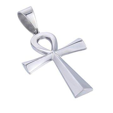 Trendsmax Hombres Mujeres Unisex Tono De Plata De Acero Inoxidable Egipcio Ankh Cruz De La Vida Egipto Símbolo Colgante Collar 4