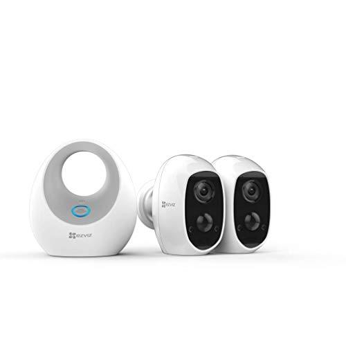 EZVIZ C3A 1080p Telecamera di Videosorveglianza per Interno/Esterno, Ricaricabile a Batteria, Kit Base + 2 Cam W2D (LAN), Duo Pack, WiFi Full HD, Audio 2 Vie, Rilevamento di Movimento PIR