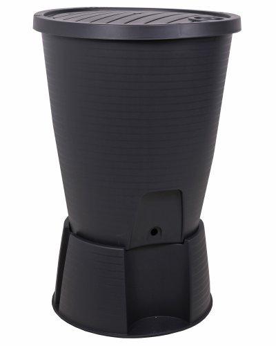Ondis24 Regentonne schwarz Regenwassertank Wasserfass Regenwassertonne 220 Liter mit Deckel, Ständer, Hahn und Füllautomat