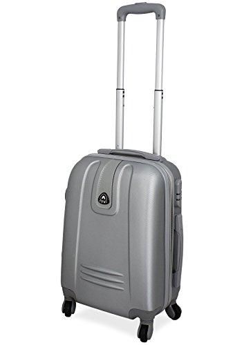 TROLLEY IN ABS 52X35X20 4 RUOTE adatto come BAGAGLIO A MANO per tutti compagnie aeree (ARGENTO)