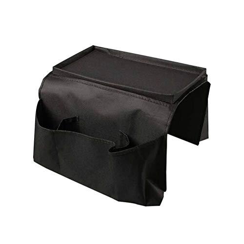 LIOOBO Sacchetto di immagazzinaggio Oxford Cloth Sofa Bracciolo Organizer Divano Arm Chair Caddy per TV Telecomando Magazine Phone Books iPad Black (Medium)