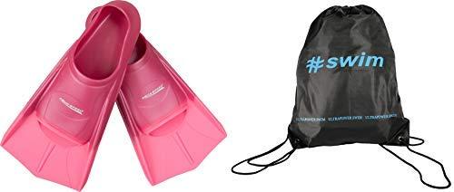 Aqua Speed Set High Tech Pinne di Nuoto Brevi per Adulti e Bambini + ULTRAPOWER #Swim Zaino di Cordone Uomini Donne Ragazze Ragazzi Allenamento per Immersione Alette Formazione 39/40,rosa/rosa/03