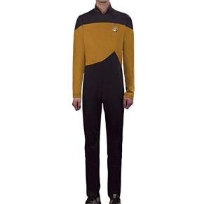 Star Trek Juego De rol TNG Disfraz De Halloween Pelota Leotardo Medias Elásticas,Yellow-M