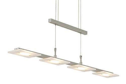 Briloner Leuchten 4310-042 LED Pendelleuchte Esszimmer, Pendellampe, dimmbar, höhenverstellbar, Metall, 20 W, matt nickel, 88 x 9 x 1750 cm