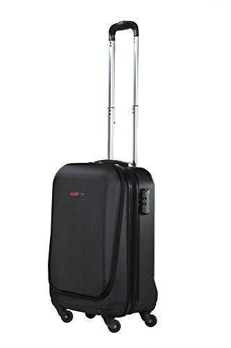 SwissCase Pro Business Traveller - Valigia da cabina con 4 ruote, in ABS, con tasca per laptop