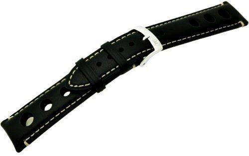Morellato - Cinturino in pelle, Unisex, Nero, larghezza: 20 mm