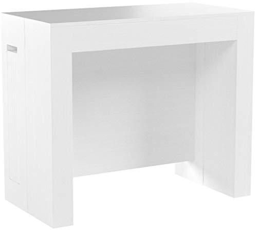 Mobili Fiver, Tavolo Consolle Allungabile con Porta prolunghe Easy, Bianco Frassino, 45 x 90 x 76...