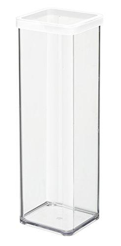 Rotho Loft Vorratsdose 2 l, Kunststoff (BPA-frei), transparent / weiss, 2 Liter (10 x 10 x 28,5 cm)