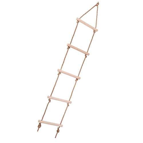 Segolike New Children Outdoor Playhouse Wooden 5 Rungs Rope Climbing Ladder Backyard Toy Tree House Accessories